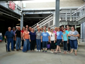 Cumberland Singers getting ready to sing at a baseball game